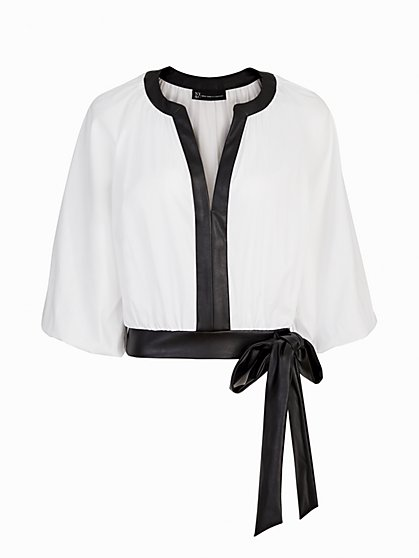 Faux-Leather Piped Top - The NY&C Legacy Collection - New York & Company