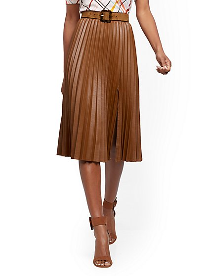 Faux-Leather Pleated Skirt - 7th Avenue - New York & Company