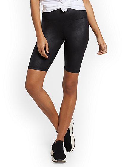 Faux-Leather Pocket Bike Short - New York & Company