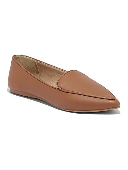 Faux-Leather Pointed-Toe Loafer - New York & Company