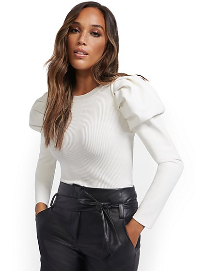 Faux-Leather Sleeve Sweater - New York & Company