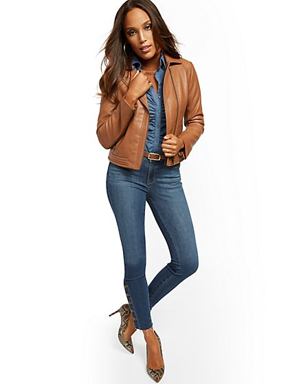 Faux-Leather Stitched Moto Jacket - New York & Company