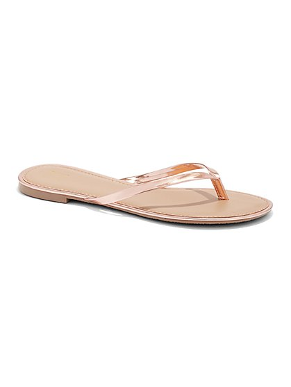 ee6bf9c94995 Faux-Leather Trim Flip-Flop Sandal - New York   Company ...