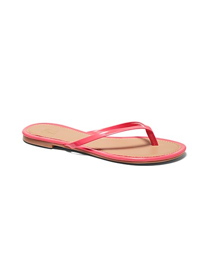 Faux-Leather Trim Flip-Flop Sandal - New York & Company