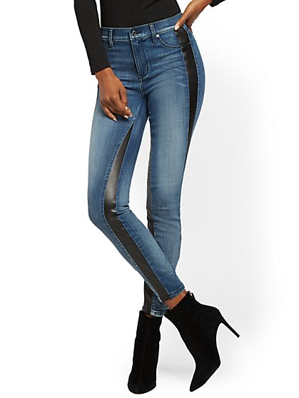 Faux-Leather Trim High-Waisted Super Skinny Jeans - Medium Blue - New York & Company
