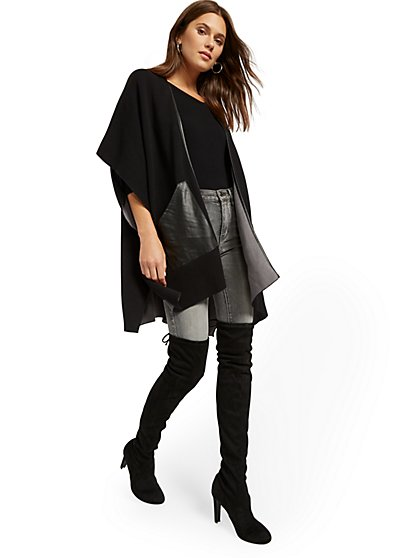 Faux-Leather Trim Kimono Jacket - New York & Company