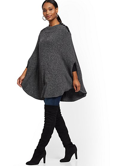 Faux-Leather Trim Marled Poncho - New York & Company
