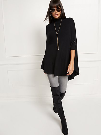 Faux Leather-Trim Poncho - New York & Company