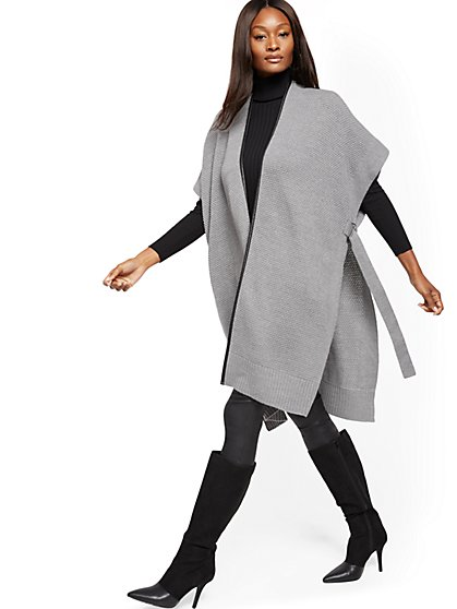 Faux-Leather Trim Poncho - New York & Company
