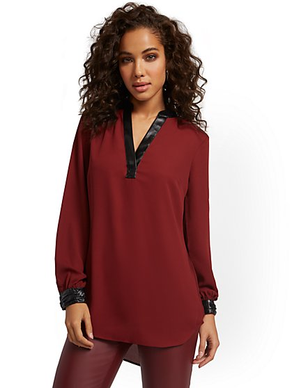 Faux-Leather Trim Tunic Top - New York & Company