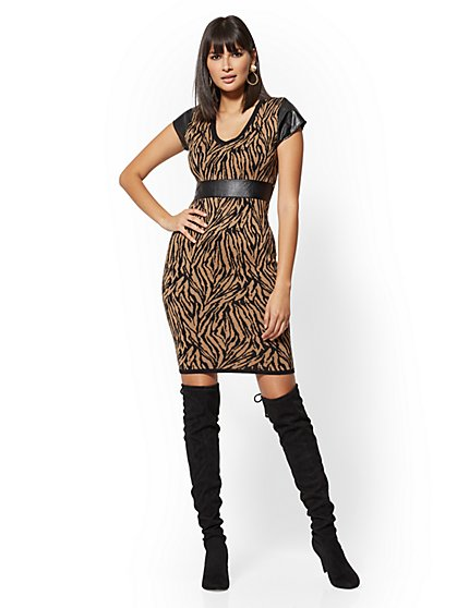 Faux-Leather Trim Zebra-Print Sweater Sheath Dress - New York & Company