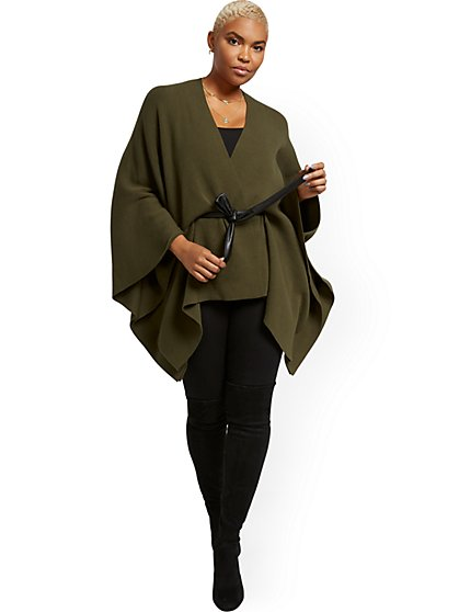 Faux-Leather Wrap Poncho - New York & Company