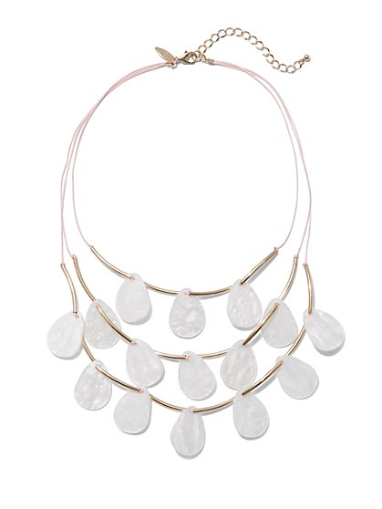 Faux Mother-of-Pearl Statement Necklace - New York & Company