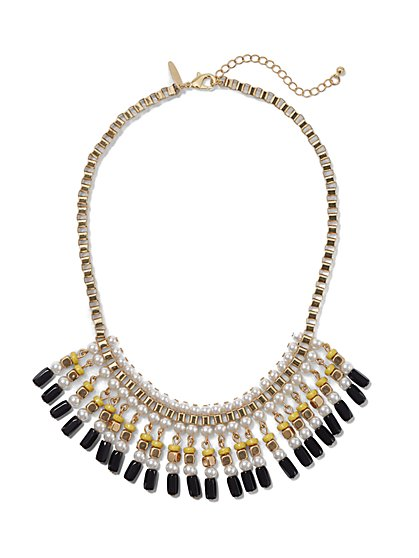 Faux-Pearl Beaded Collar Necklace - New York & Company