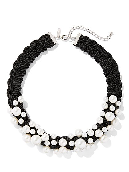 Faux-Pearl Braided Collar Necklace - New York & Company