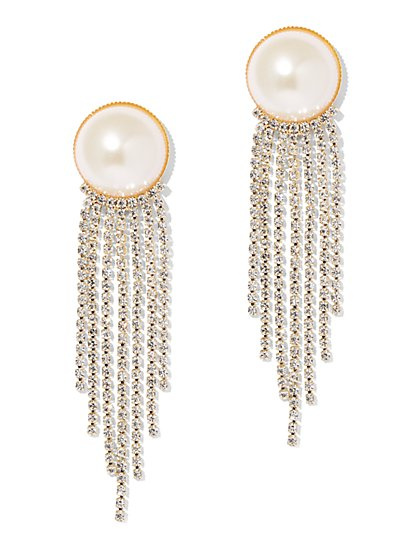 Faux-Pearl Chain-Link Drop Earring - New York & Company