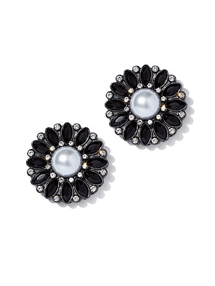 Faux-Pearl Circular Post Earring - New York & Company