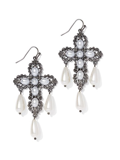 Faux-Pearl Cross Drop Earring - New York & Company