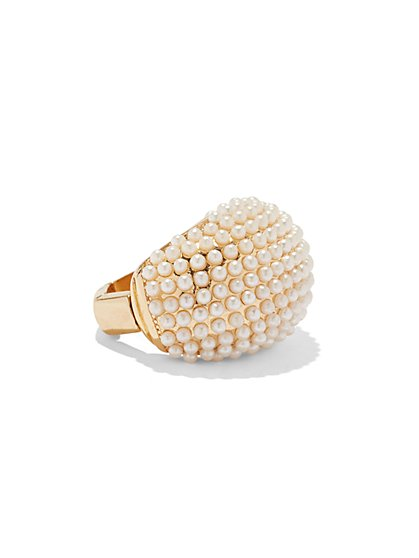 Faux-Pearl Dome Cocktail Ring - New York & Company