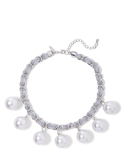 Faux-Pearl Drop Necklace - New York & Company