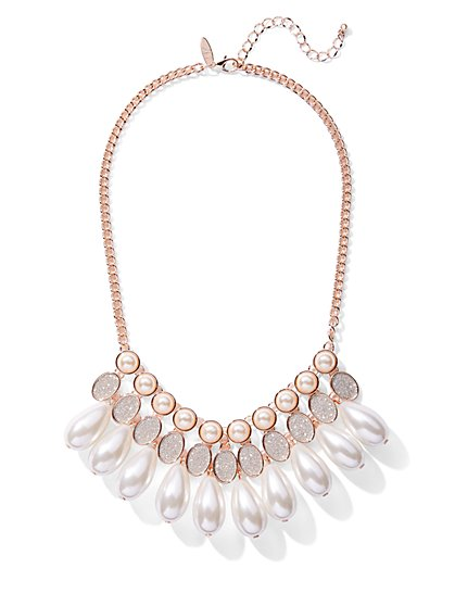 Faux-Pearl Drop Statement Necklace - New York & Company