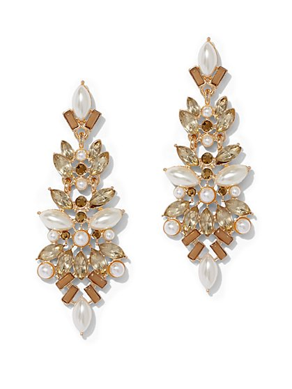 Faux-Pearl & Faux-Stone Statement Earring - New York & Company