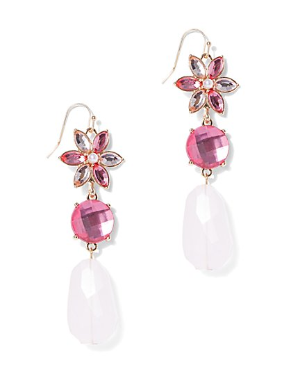 Faux-Pearl Floral Drop Earring - New York & Company