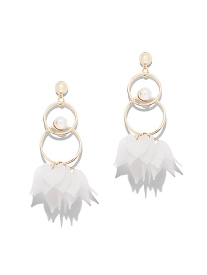 Faux-Pearl & Floral Drop Earring - New York & Company