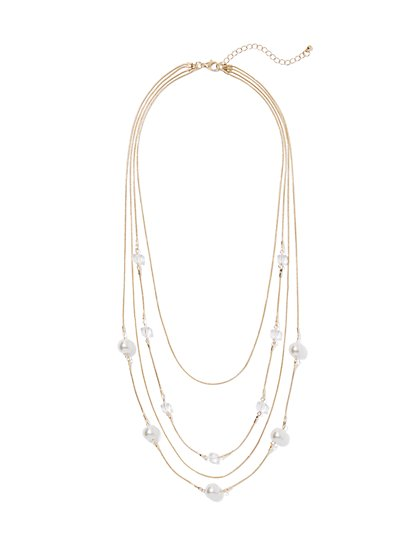 Faux-Pearl Goldtone Layered Necklace - New York & Company
