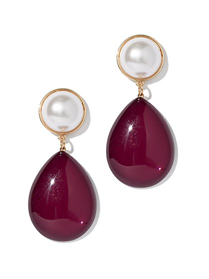 Faux-Pearl Goldtone Teardrop Earring - New York & Company