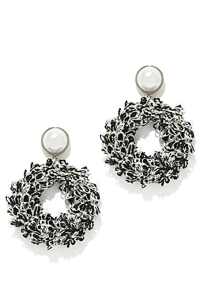 Faux-Pearl Hoop Drop Earring - New York & Company
