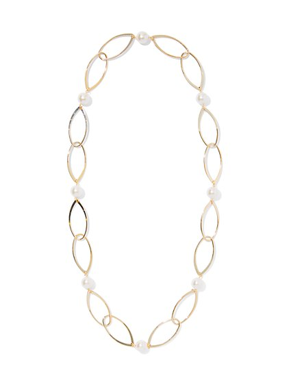 Faux-Pearl Link Necklace - New York & Company