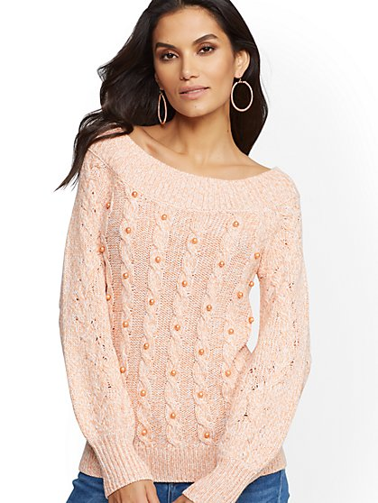 Faux-Pearl Marled Off-The-Shoulder Sweater - New York & Company