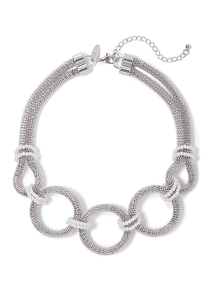 Faux-Pearl Open-Circle Necklace - New York & Company
