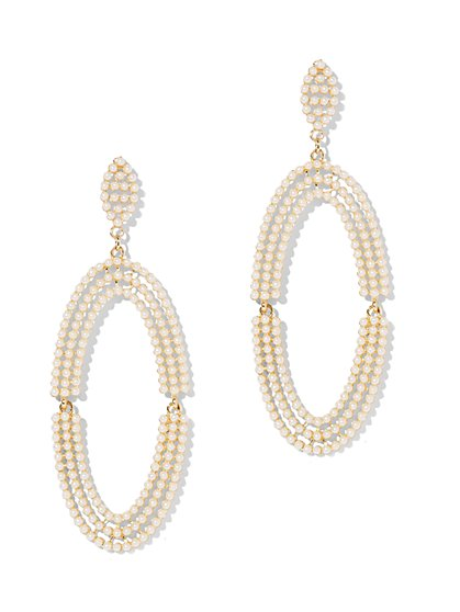 Faux-Pearl Oval Drop Earring - New York & Company