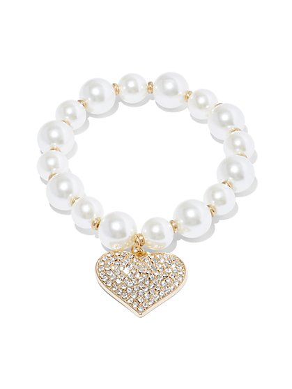 Faux-Pearl & Pave Heart Charm Stretch Bracelet - New York & Company