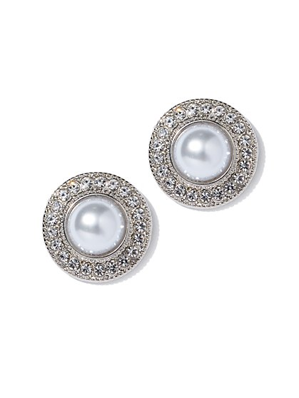Faux-Pearl Pave Silvertone Post Earring - New York & Company