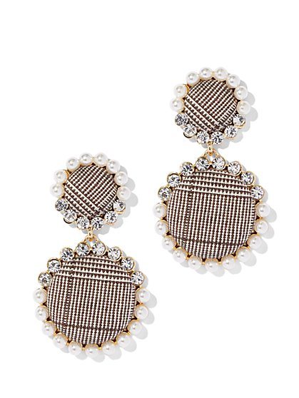 Faux-Pearl Plaid Drop Earring - New York & Company