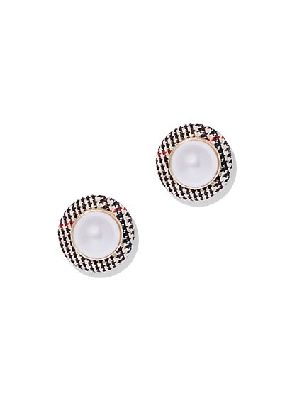 Faux-Pearl Plaid Post Earring - New York & Company