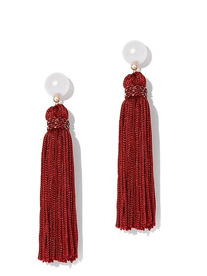Faux-Pearl & Tassel Drop Earring - New York & Company