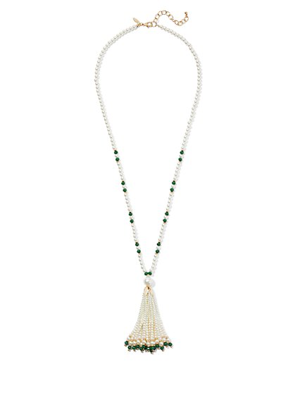 Faux-Pearl Tassel Necklace - New York & Company