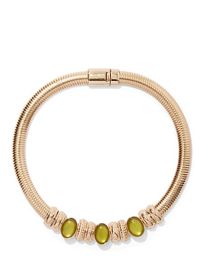 Faux-Peridot Goldtone Collar Necklace - New York & Company