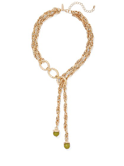 Faux-Peridot Goldtone Y Necklace - New York & Company