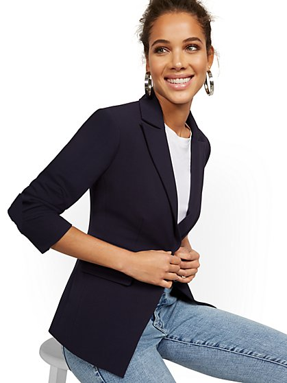 Faux-Pocket Button-Front Blazer - Double Stretch - New York & Company