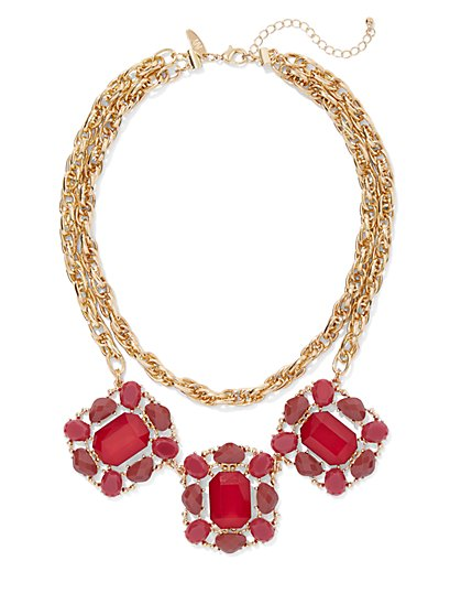 Faux-Ruby Goldtone Statement Necklace - New York & Company