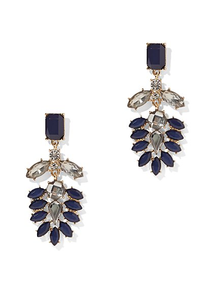 Faux-Sapphire Goldtone Drop Earring - New York & Company