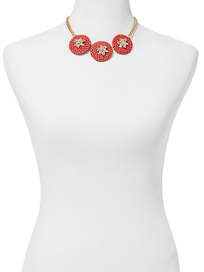 Faux-Stone Disk Statement Necklace - New York & Company