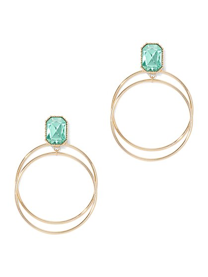 Faux-Stone Double Hoop Drop Earring - New York & Company