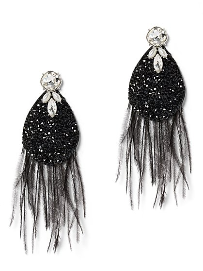 Faux-Stone & Feather Statement Drop Earring - New York & Company