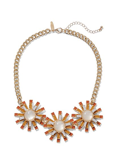 Faux-Stone Floral Statement Necklace - New York & Company
